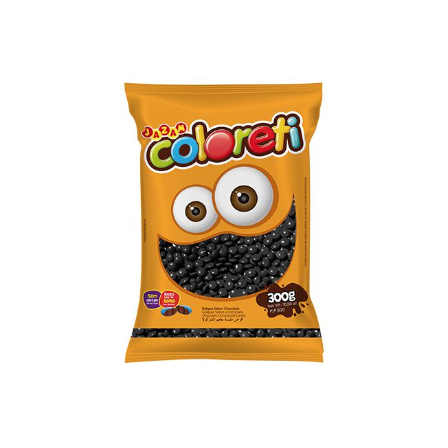 Confeito Coloreti Mini Preto 300g Jazam