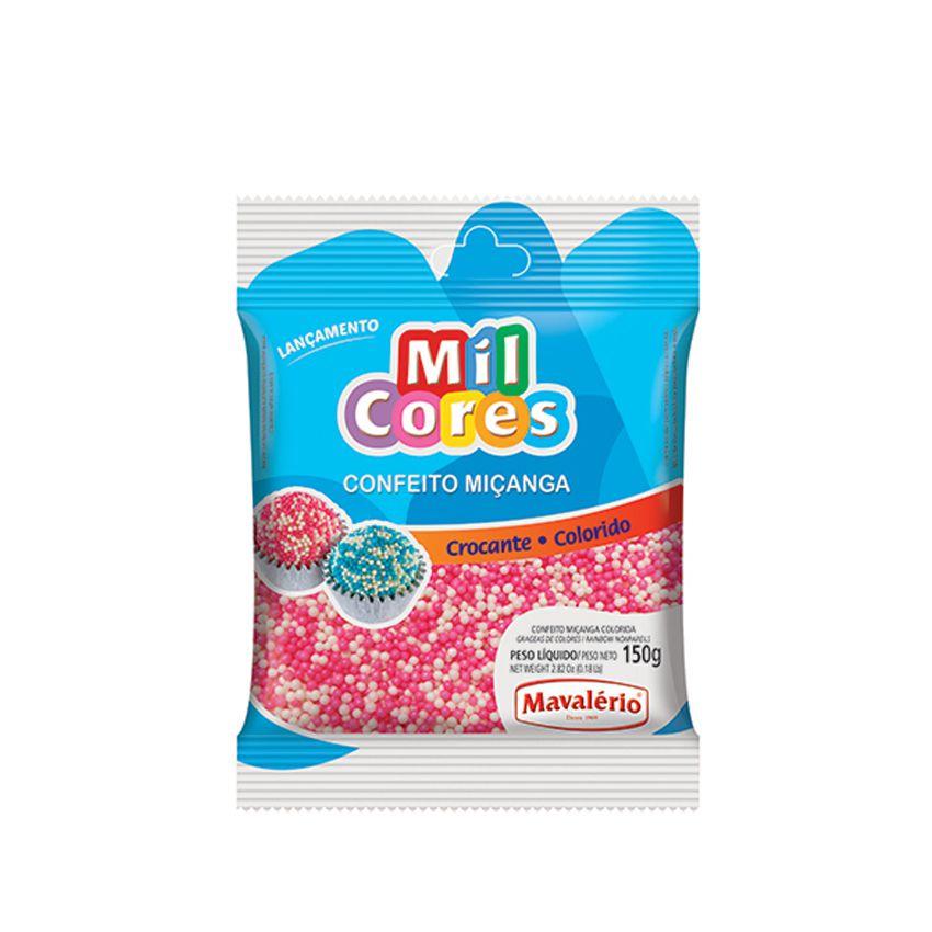 Confeito Miçanga N.0 150g  Branco Rosa Mil Cores