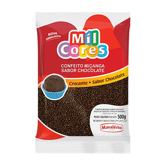 Confeito Miçanga n.0 500g  Sabor Brigadeiro Mil cores