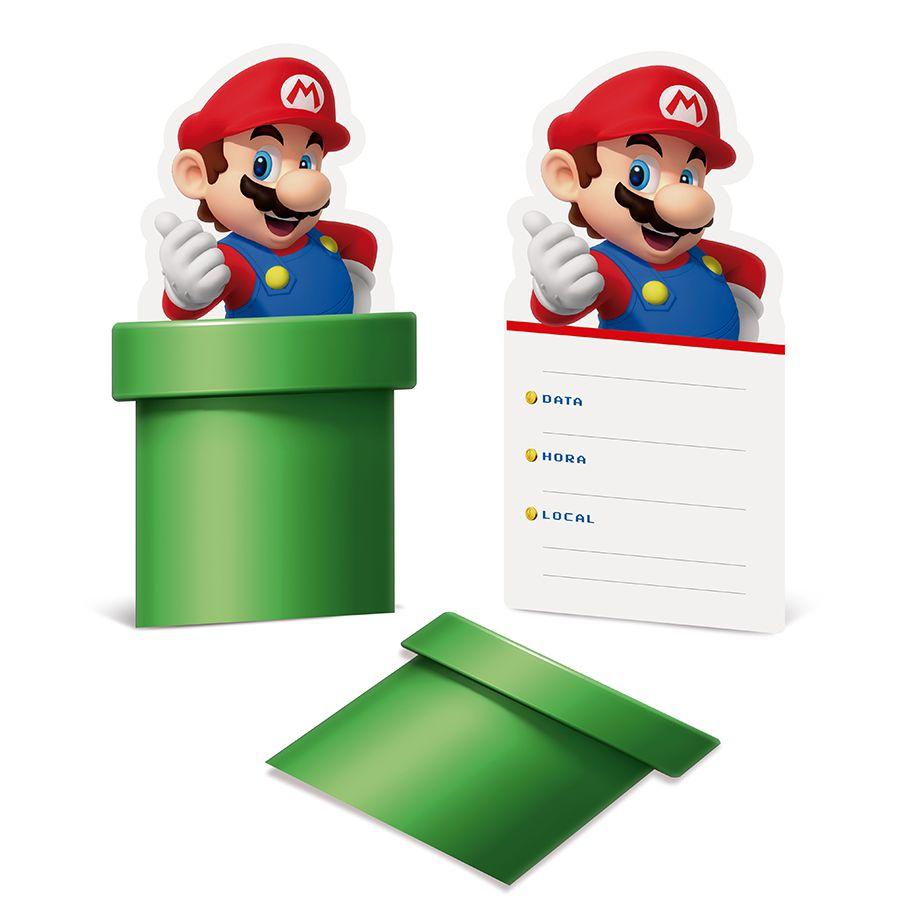 Convite Super Mario C 08 unid Cromus