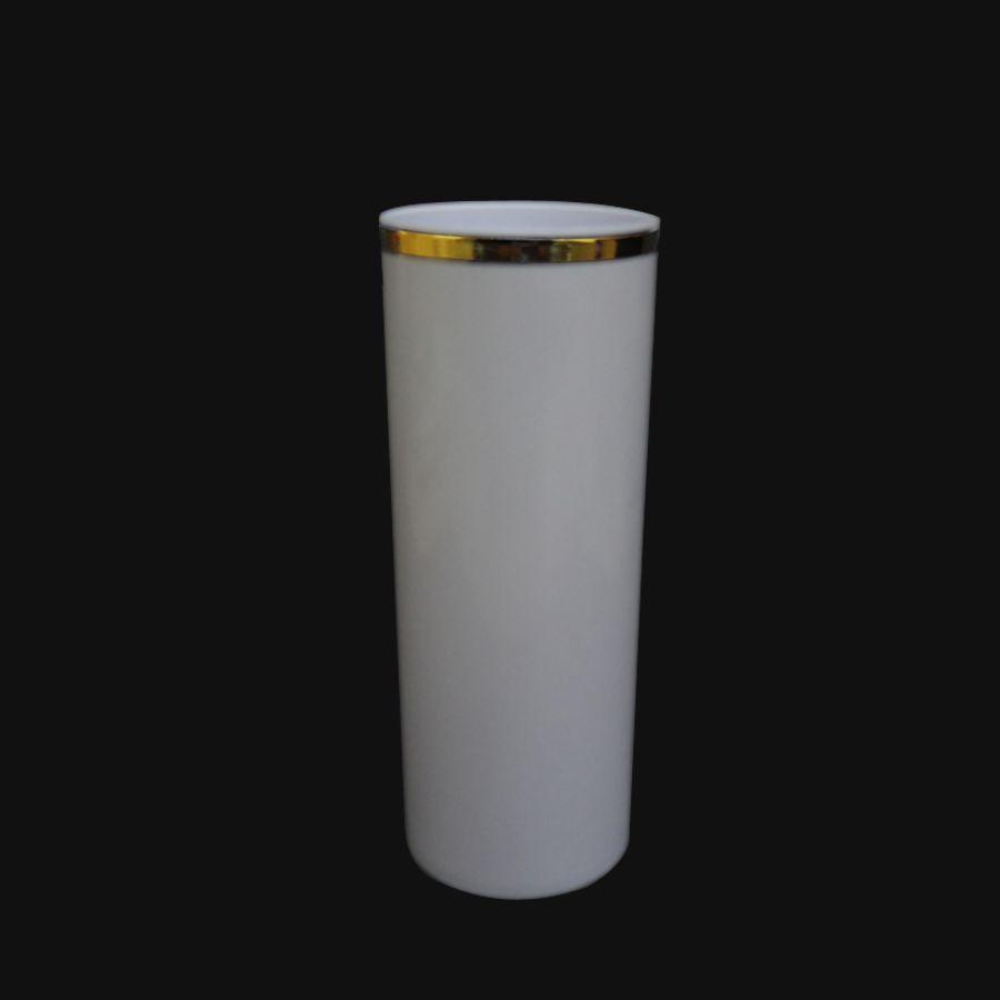 Copo 350ml Long Drink Branco Borda Dourada