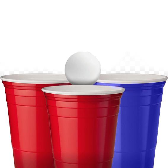 Copo Beer Pong Azul e Vermelho 500ml C 12 unid