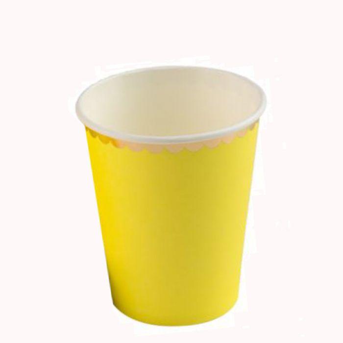 Copo Papel 270ml 10 unid Amarelo Borda Dourado