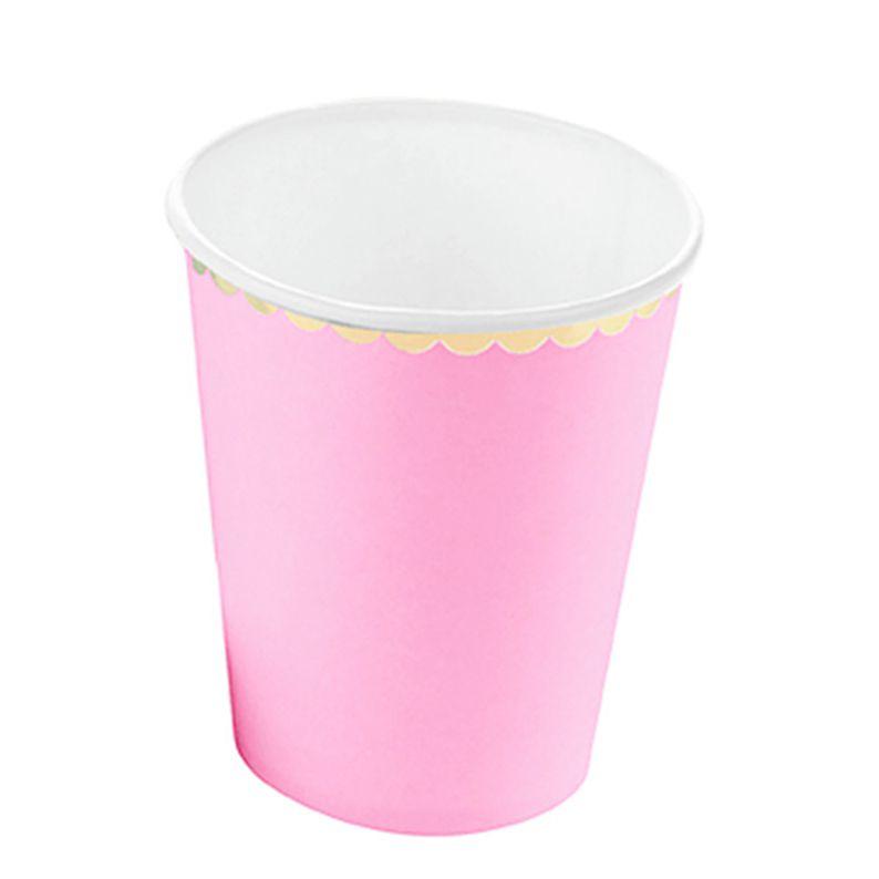 Copo Papel 270ml 10 unid Rosa BB Borda Dourado