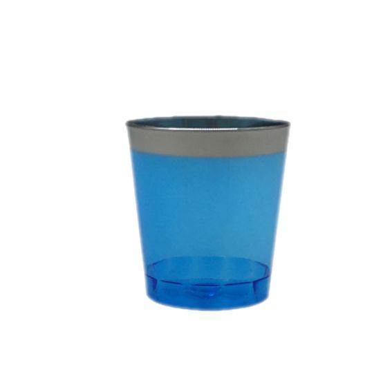 Copo Tequila Azul Borda Prata 20 unid Popper
