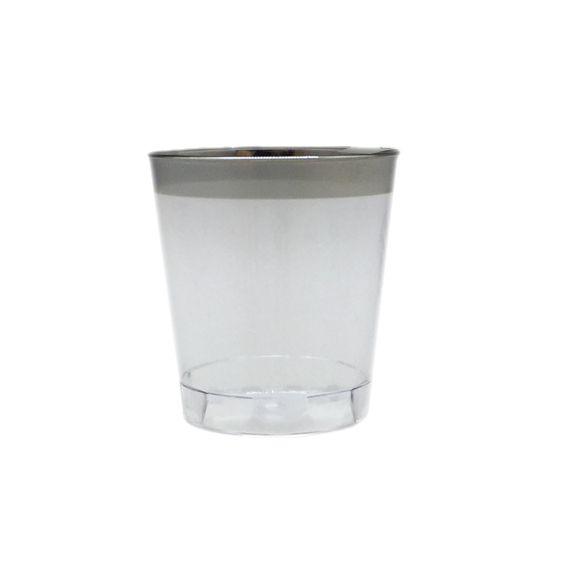 Copo Tequila Cristal Borda Prata 20 unid Popper