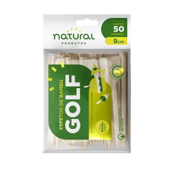 Espetos de Bambu Golf 9cm 50 unid Natural