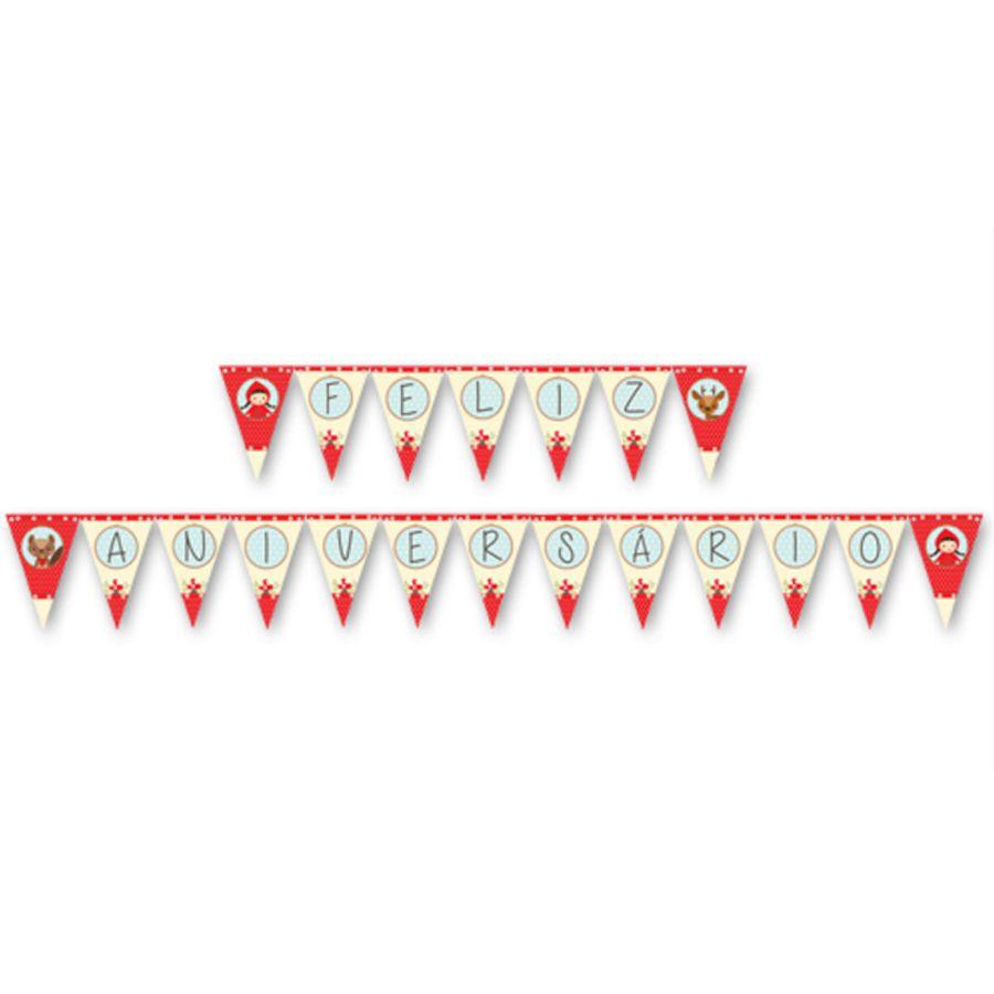 Faixa Chapeuzinho  Vermelho Feliz Aniversário Junco