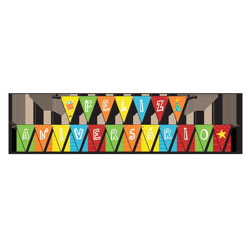 Faixa Feliz Aniversário 2,40m x 19cm Festcolor