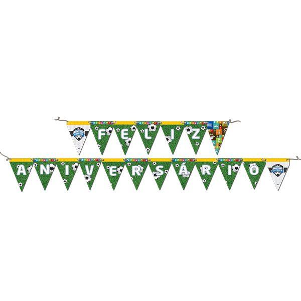 Faixa Feliz Aniversário Apaixonados por Futebol 2,40m x 19cm Festcolor