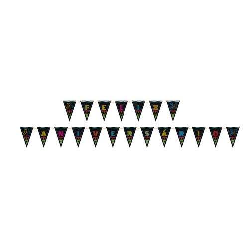 Faixa Feliz Aniversário Neon Party 2,46m x 0,188m Junco