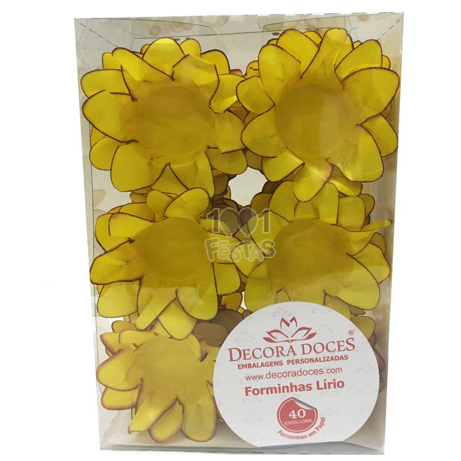 Forminha Lírio Amarelo Queimado c/40 Decora Doces