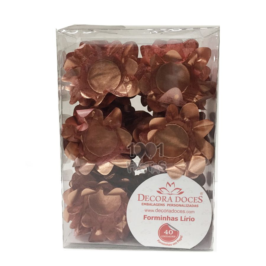 Forminha Lírio Rose Gold c/40 Decora Doces