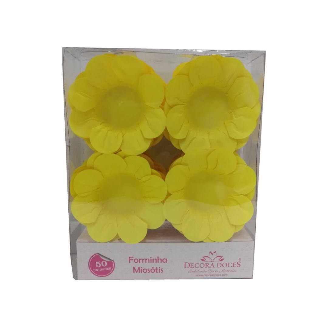 Forminha Miosótis c/50 Amarelo Neon Decora Doces