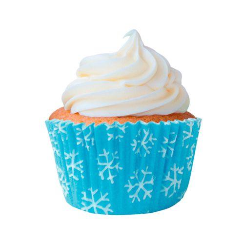 Forminha para Cupcake Azul Flocos de Neve 45unid. Mago