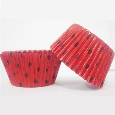 Forminha  Para Cupcake  Vermelho Poá Preto 45 unid Flip