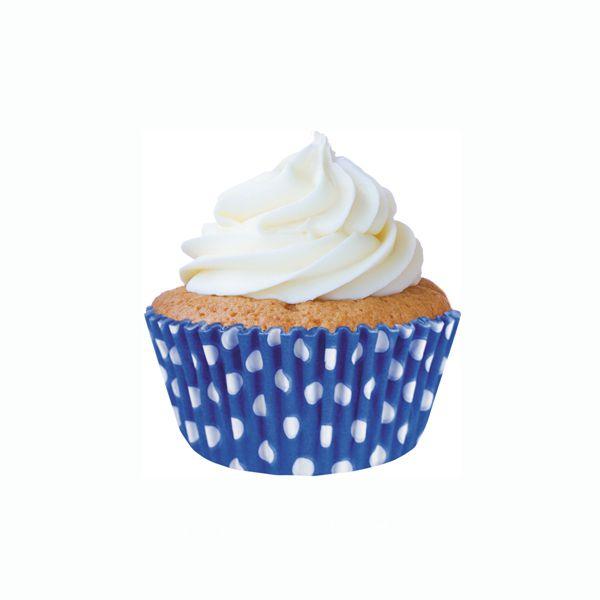 Forminha para Mini Cupcake Azul Poá Branco 45 unid Mago