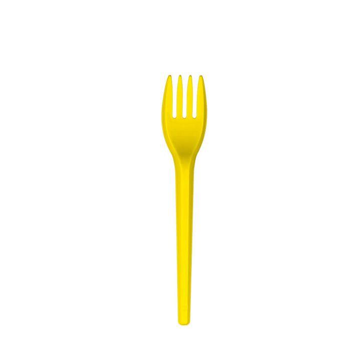 Garfo Sobremesa Amarelo 50 unid Strawplast