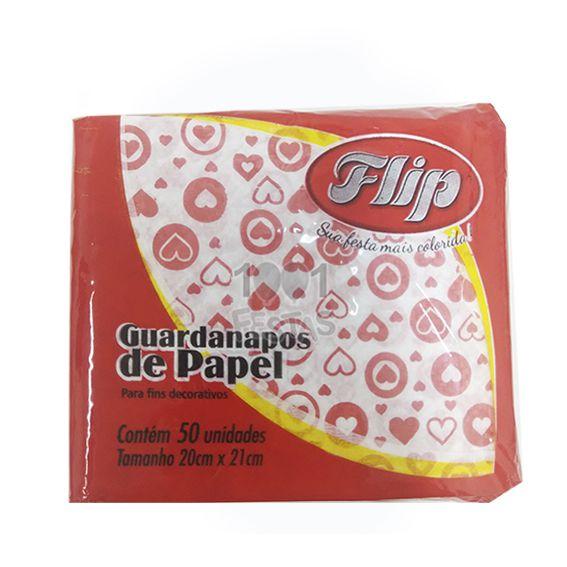 Guardanapo 20cm x 21cm 50 unid Coração vermelho Flip