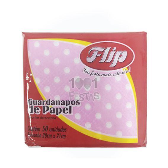Guardanapo 20cm x 21cm 50 unid Rosa Claro Poá Branco Flip