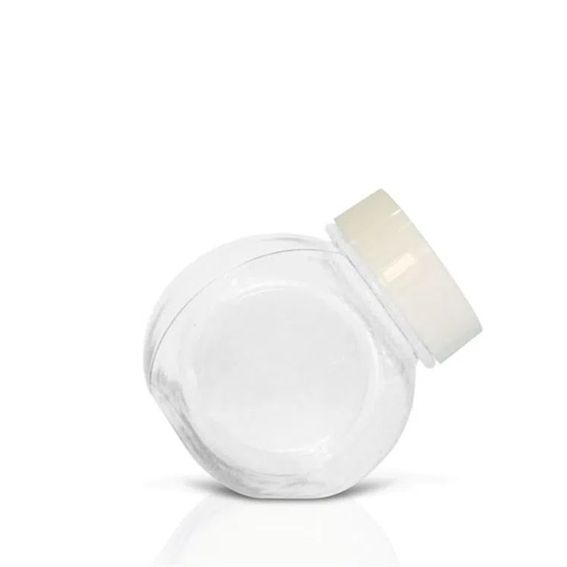Mini Baleiro 72 ml C 10 unid Cristal com tampa Branca