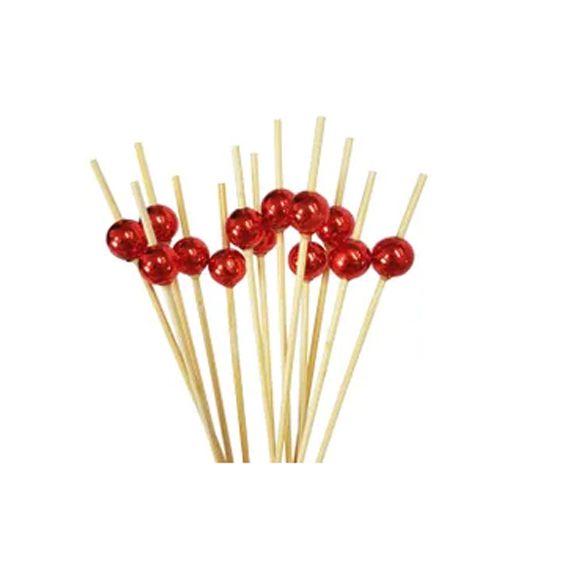 Palito de Bambu Bolinha Vermelha 12 cm 20 unid Silver Pastic