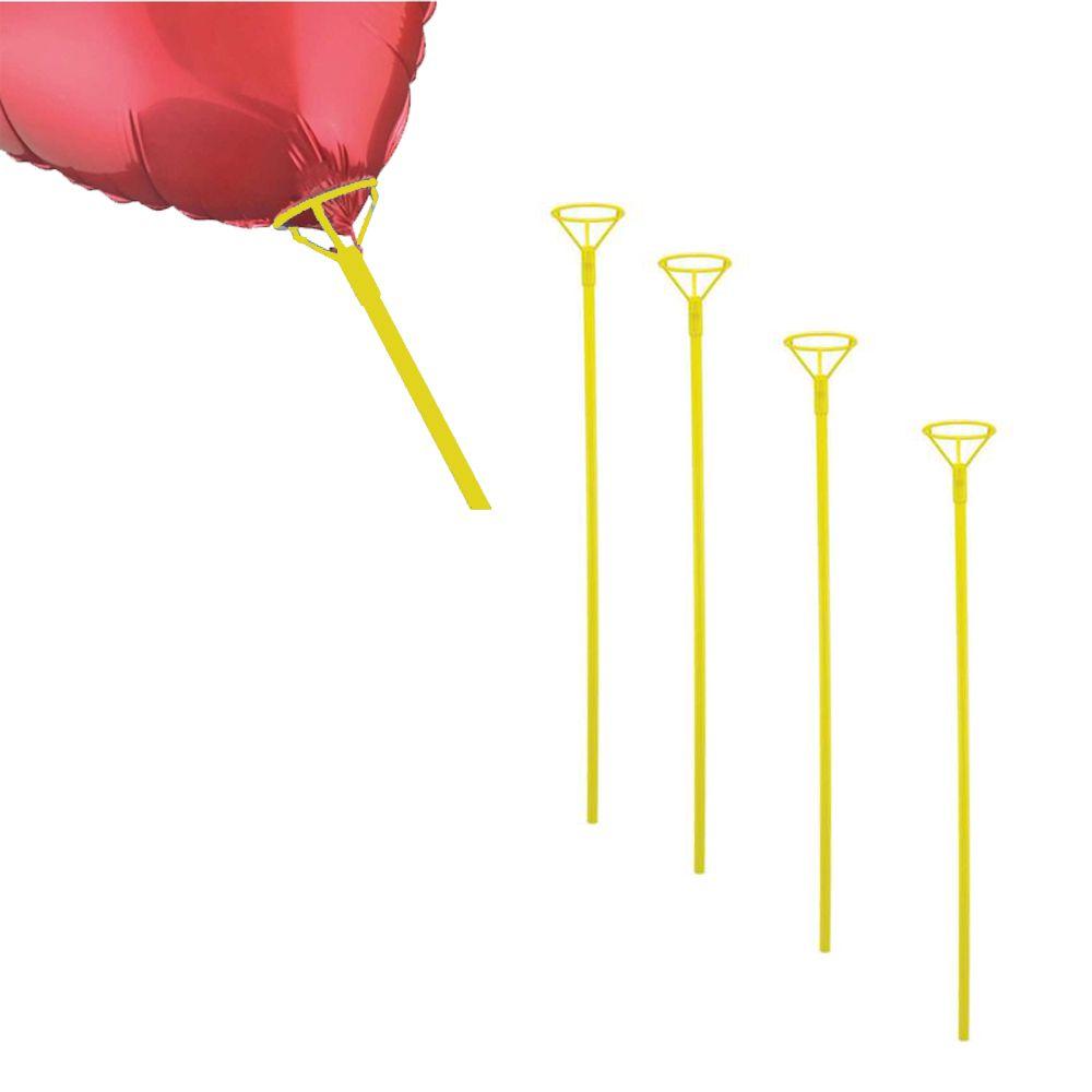 Pega Balão 50cm Amarelo 5 unid KLF Festas
