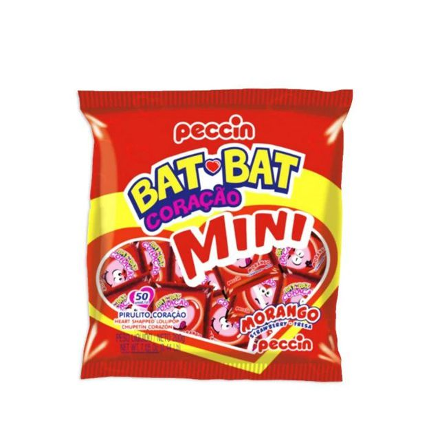 Pirulito Bat Bat Mini Coração Morango 200g Peccin