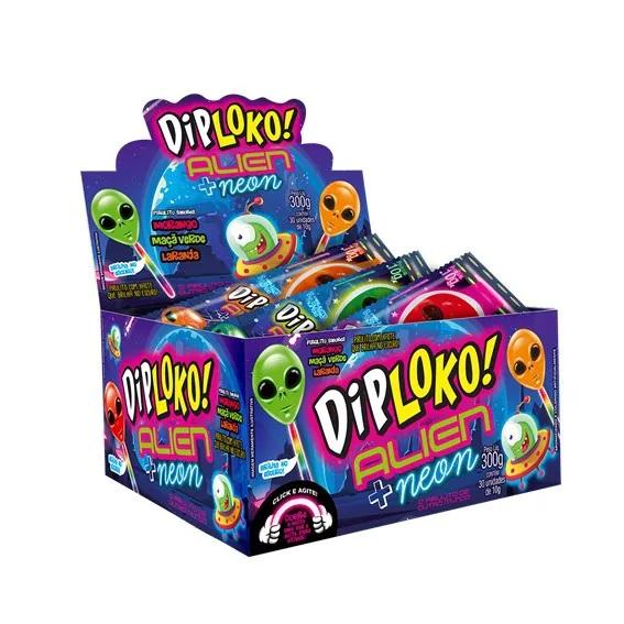 Pirulito DipLoko! Neon c/30 unid Alien
