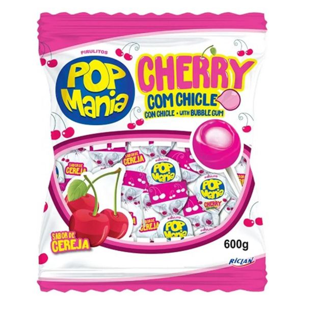 Pirulito Pop com Chicle Cherry 600g Riclan