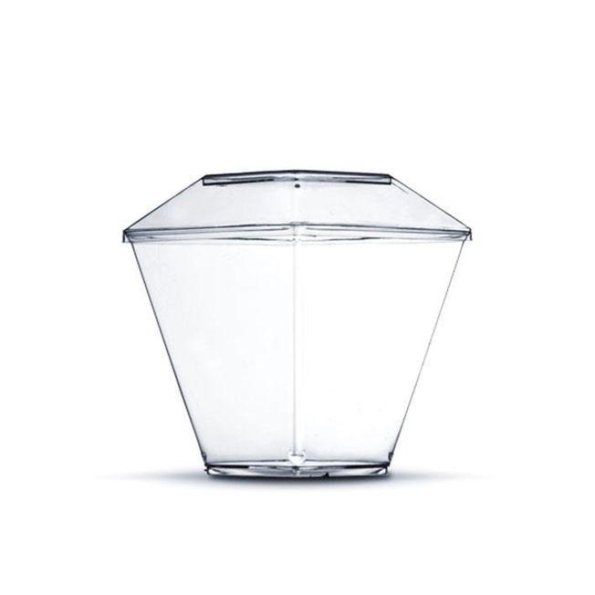 Pote Quadrado com Tampa Transparente 180ml 10 unid strawplast