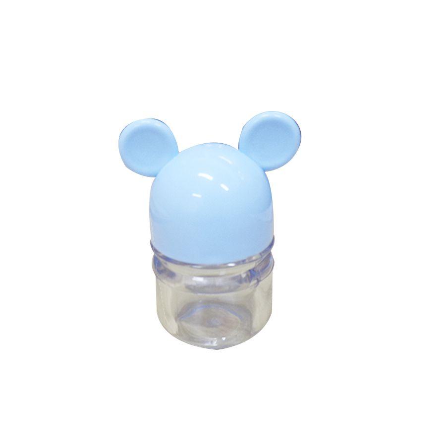 Pote Ratinho C 06 unid Cristal com Tampa Azul Bebê