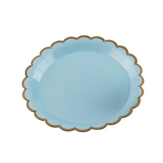 Prato de Papel 18cm 10 unid Azul Borda Dourado Silver Festas