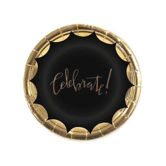 Prato de Papel 18cm 10 unid Celebrate  Dourado/Preto Silver Festas
