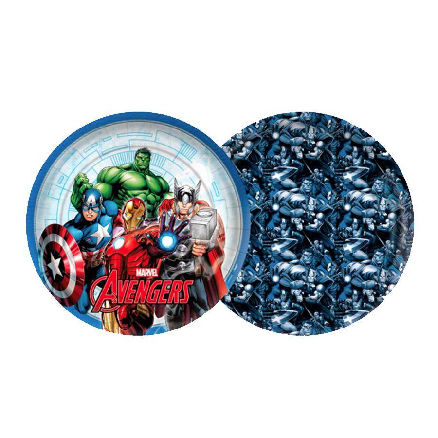 Prato de Papel Avengers 18cm C 08 unid Redondo Regina