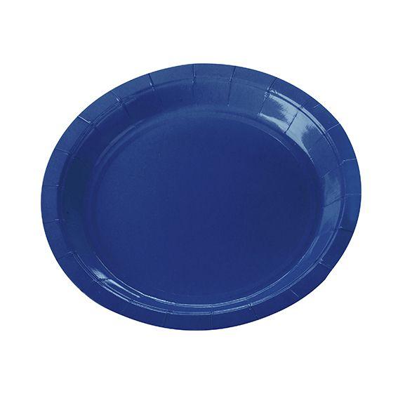 Prato de Papel Azul Escuro 18cm 10 unid Silver Plastic