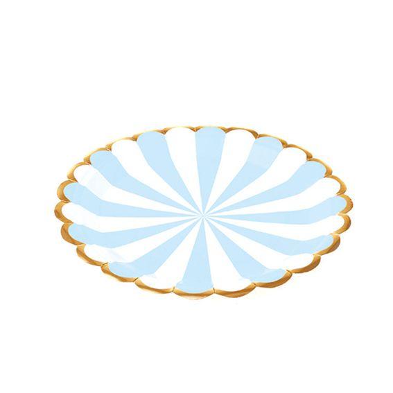 Prato de Papel Circo Azul BB 18cm 10 unid Silver Plastic