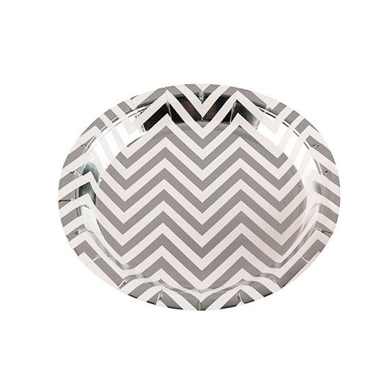 Prato de Papel Missoni Prata 18cm 10 unid Silver Plastic