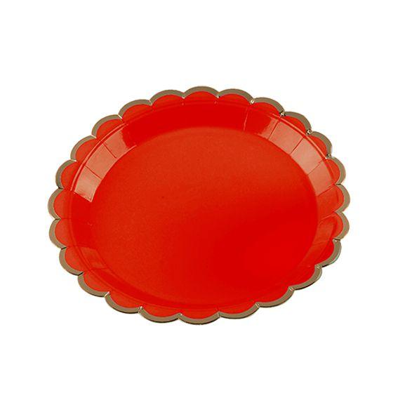 Prato de Papel Vermelho Borda Dourada 18cm 10 unid Silver Plastic