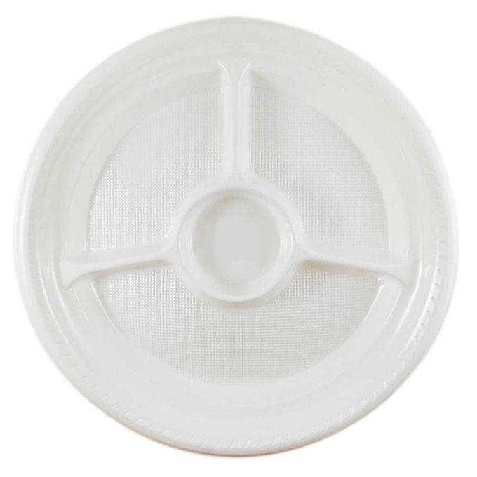 Prato Descartável Branco 26cm Com Divisória 10 unid. Copoplast