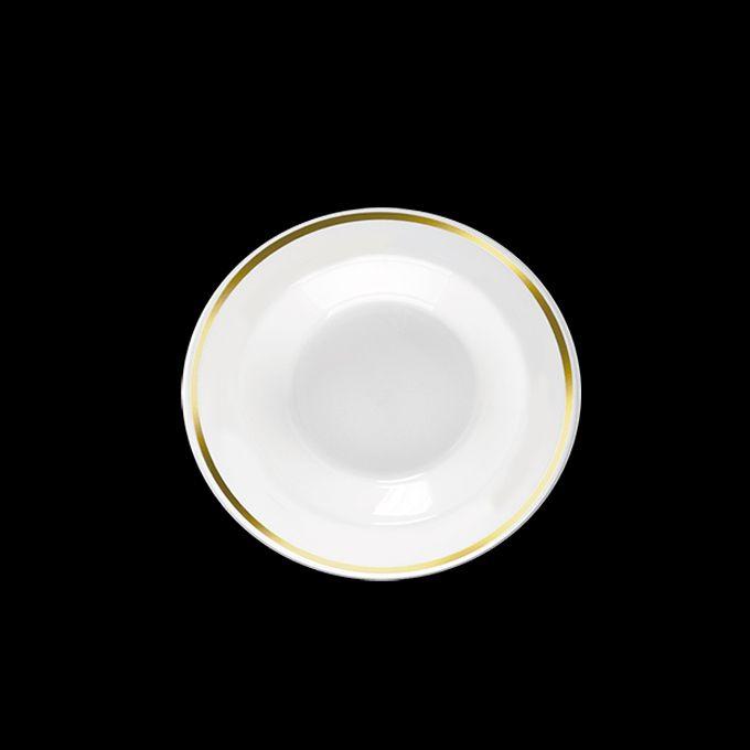 Prato Fundo Luxo Branco Borda Dourada 19cm 06 unid Popper