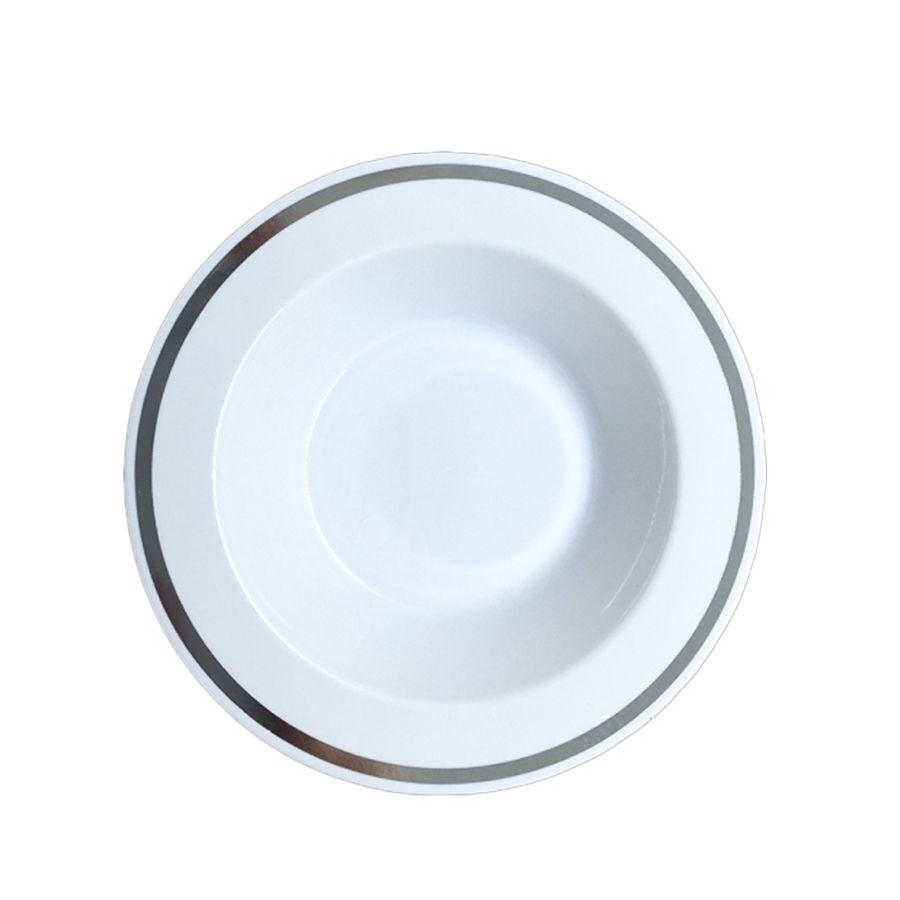Prato Fundo Luxo Branco Borda Prata 19cm 06 unid Popper