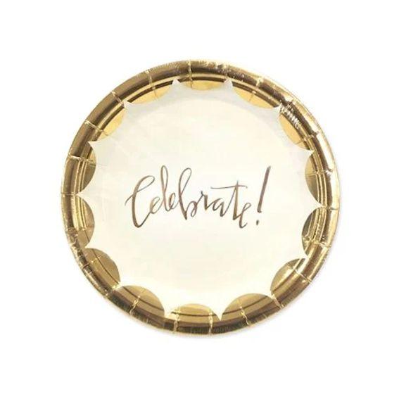Prato de Papel 18cm 10 unid Celebrate Dourado Silver Festas