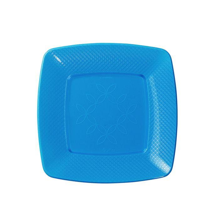 Prato Quadrado Azul Neon 15cm 10 unid Strawplast