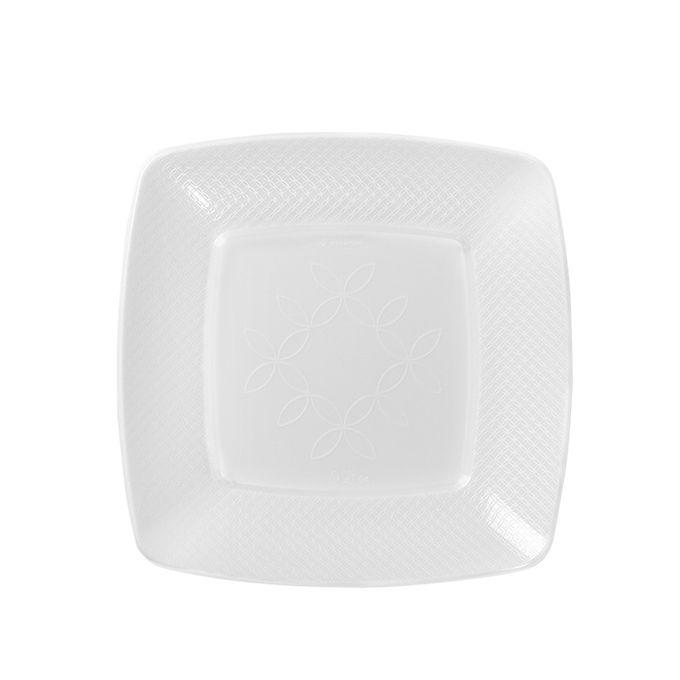 Prato Quadrado Branco 15cm 10 unid Strawplast