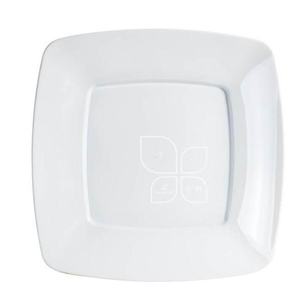 Prato Quadrado Branco 21cm 10 unid Strawplast