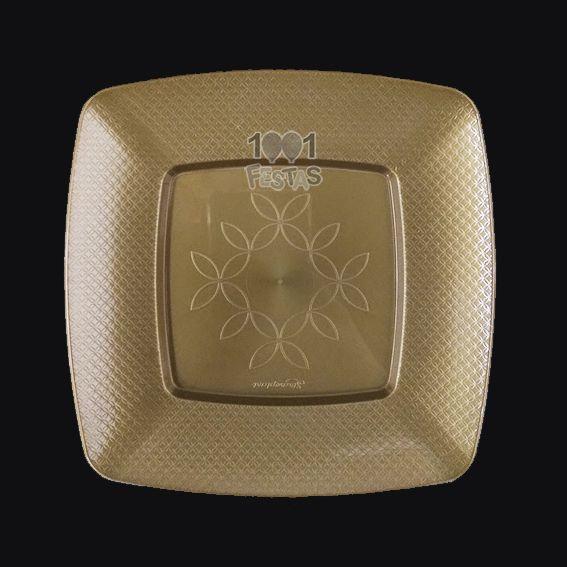 Prato Quadrado Dourado 15cm 10 unid StrawPlast