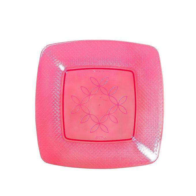 Prato Quadrado Vermelho Neon 15cm 10 unid Strawplast
