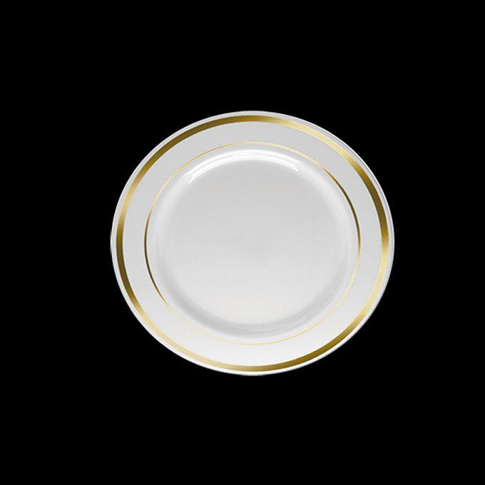 Prato Redondo Luxo Branco Borda Dourada  06 unid Silver Plastic