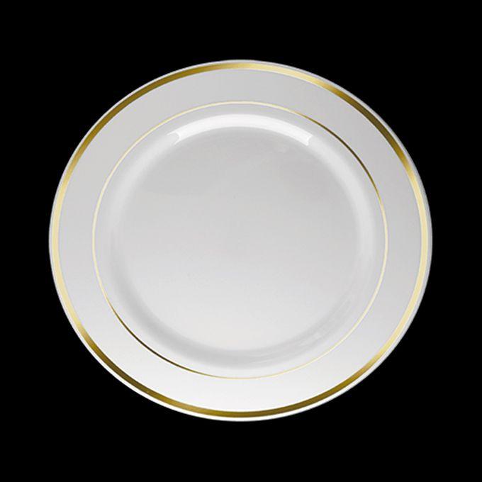 Prato Redondo Luxo Branco Borda Dourada 26cm 06 unid Silver Plastic